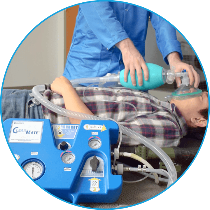 ClearMate™ hooked up to patient in situation